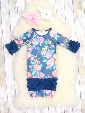 Navy Floral Rose Icing Ruffle Sleep Gown