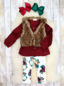 Burgundy Button Top, Furry Vest, & White Floral Pants Outfit