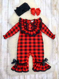 Buffalo Plaid Ruffled Romper