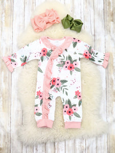 Pink Floral Asymmetrical Ruffle Romper