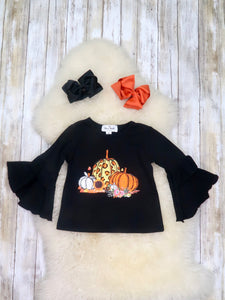Black Pumpkin Bell Sleeve Ruffle Shirt