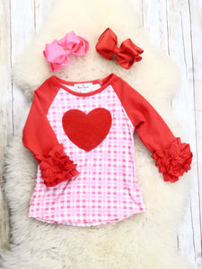 Pink / Red Plaid Hearts Ruffle Top