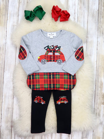 Gray Plaid Christmas Car Top & Black Pants Outfit