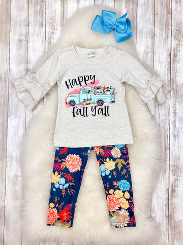 """Happy Fall Y'all"" Ruffle Outfit"