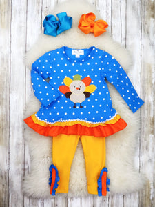 Blue Polka Dot Turkey Ruffle Top & Mustard Pants Outfit