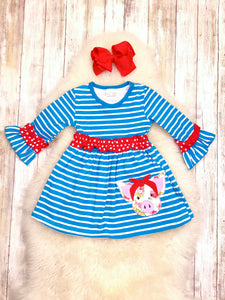 Floral Pig Blue Striped Ruffle Dress
