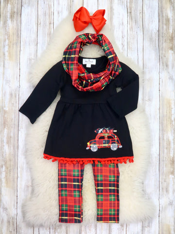 Black Christmas Car Tunic, Plaid Pants, & Scarf Outfit