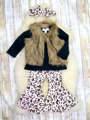 Black Top, Furry Vest, & Leopard Bell Bottoms Outfit