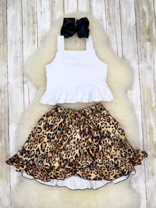 White Crop Tank & Cheetah Hi Lo Skirt