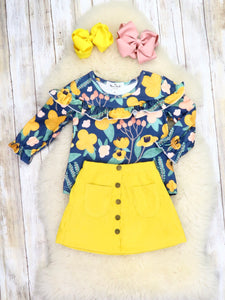 Navy Floral Ruffle Top & Yellow Button Skirt Outfit