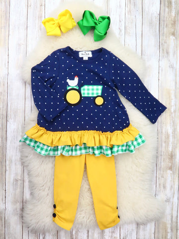 Navy Chicken Tractor Ruffle Top & Mustard Pants Outfit