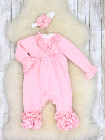 Cotton Icing Coming Home Romper W/ Headband - Pink