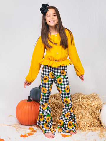Mustard Top & Sunflower Plaid Bell Bottoms Outfit