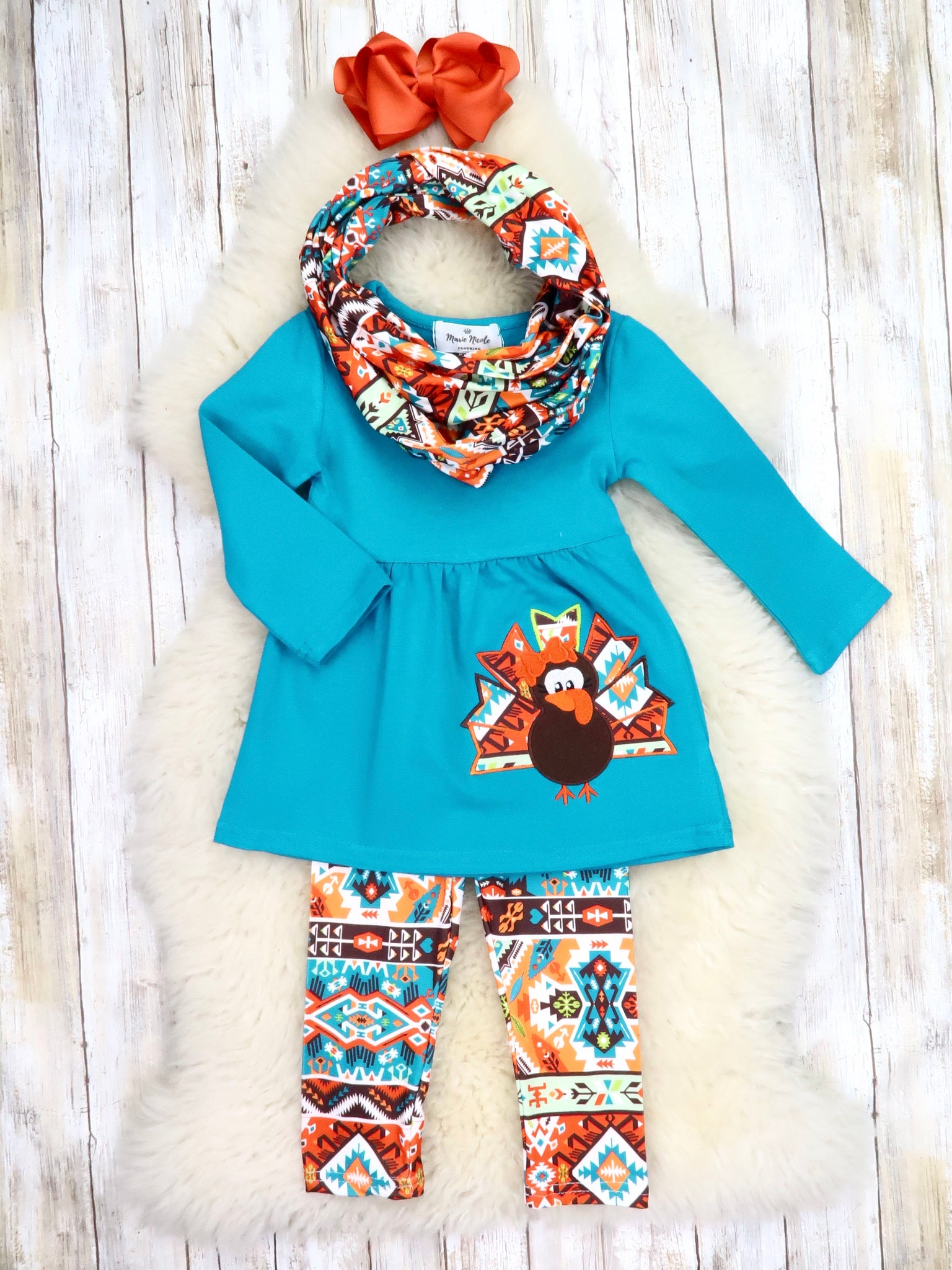Blue Turkey Tunic, Aztec Pants, & Scarf Outfit