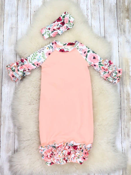 White Peach Floral Icing Gown with Headband