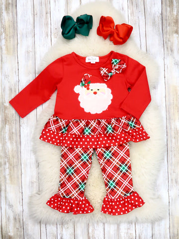Red Santa Top & Plaid Ruffle Pants Outfit