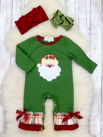Green Santa Plaid Ruffle Romper