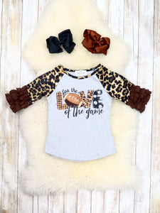 """For the Love of the Game"" Leopard Ruffle Top"