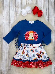"Navy Turkey Fringe Top & ""Gobble"" Skirt Outfit"