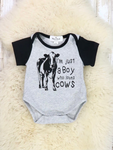 """I'm Just a Boy Who Loves Cows"" Grey Romper"