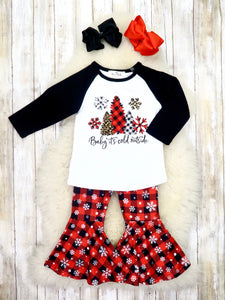 """Baby, It's Cold"" Top & Red Plaid Snowflake Bell Bottoms Outfit"