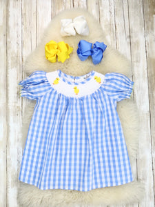Blue Gingham Smocked Neckline With Chick Embroidery Ruffle Dress