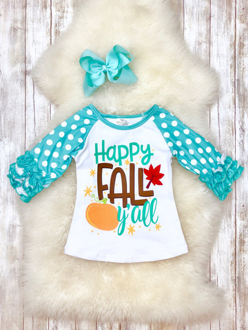 """Happy Fall Y'all"" Ruffle T-Shirt"