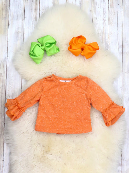 Orange Shirt & Pumpkin Ruffle Bubble Romper