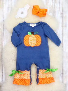 Denim / Orange Pumpkin Long Sleeve Ruffle Romper