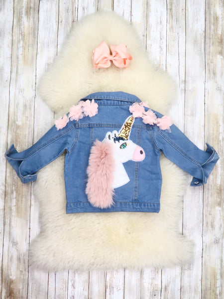 Pink Flower Unicorn Denim Jacket