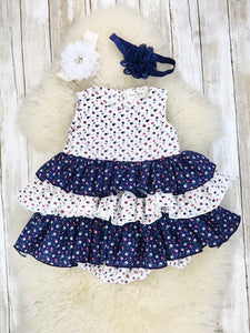 White / Navy Cotton Mini Floral Layer Bubble