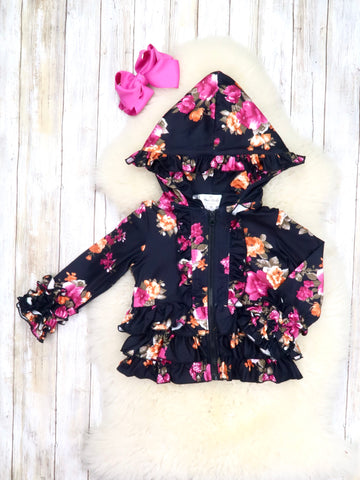 Purple / Gold Floral Ruffle Jacket