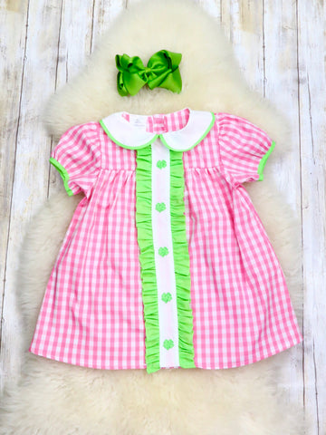 Pink Plaid & Green Shamrock Smocked Dress