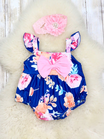 Navy & Pink Roses Flutter Sleeve Bow Bubble/Romper
