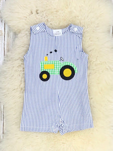 Blue Pinstriped Tractor Overall Romper