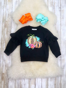 Black Pumpkin Ruffle Long-Seeve Shirt