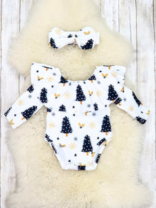 Black / Gold Christmas Trees Ruffle Bubble Romper