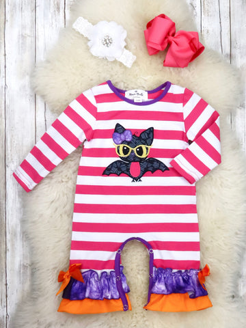 Pink Striped Bat Ruffle Romper