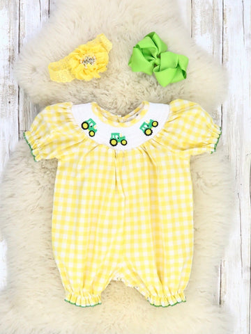 Yellow Gingham with Smocked Neckline & Tractor Embroidery Ruffle Romper
