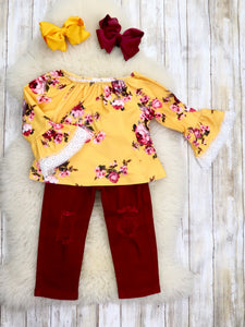 Mustard Floral Ruffle Top & Burgundy Pants Outfit