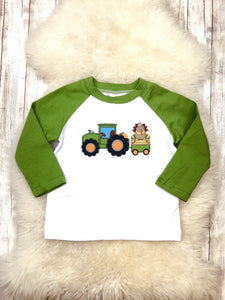 Olive & White Turkey In A Tractor Shirt