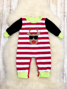 Cool Rudolph Striped Romper