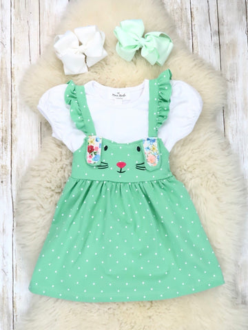 White Top & Green Bunny Ruffle Dress Outfit