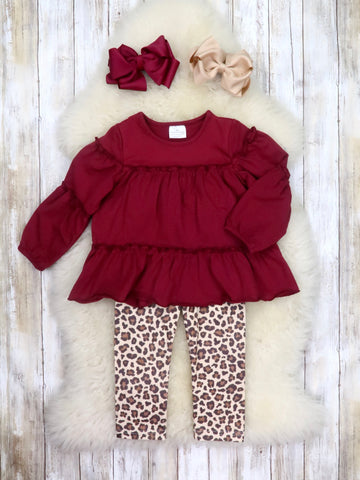Cranberry Ruffle Top & Leopard Pants Outfit