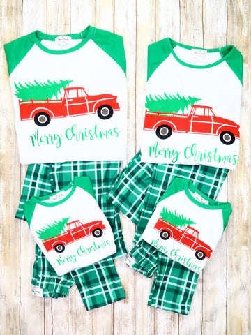 "Family ""Merry Christmas"" Green Plaid Pajamas"