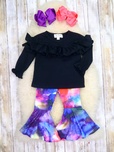 Black Ruffle Top & Tie-Dye Bell Bottoms Outfit