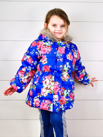 Blue Floral Rose Puffy Hooded Jacket