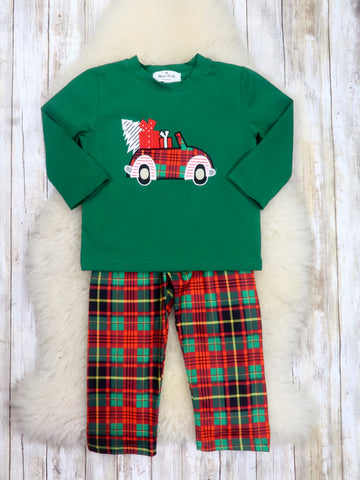 Green / Red Plaid Christmas Car Outfit