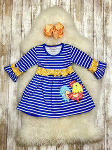 Rooster Blue/White Striped RUFFLE Dress