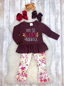 """I'm so VERY Thankful"" Brown Floral Outfit"